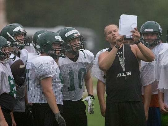 Head coach Nick Stoermon goes over a play with the