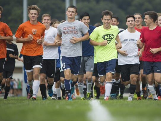 Players for the Central York High School boys' soccer