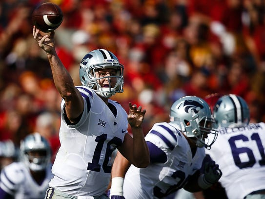 Kansas State's Jesse Ertz passes during their game against Iowa State on Saturday, Oct. 29, 2016, in Ames.