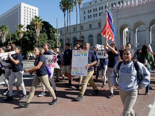 High school students from East Los Angeles march through