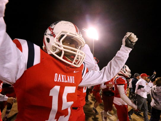 Oakland's Jeron Rooks (15) after the win over Maryville