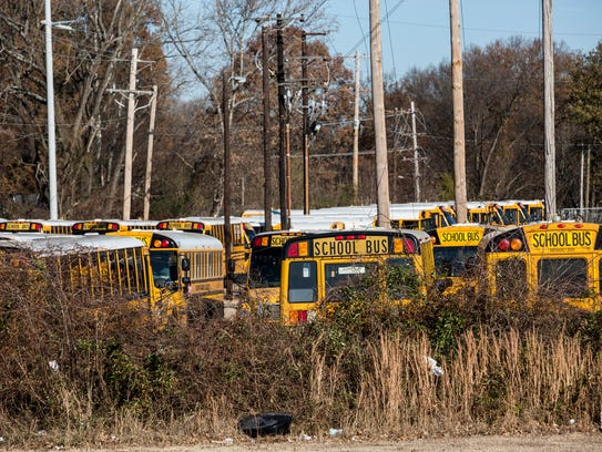 Durham School Services school buses are seen at a depot at 1681 Getwell in 2016.
