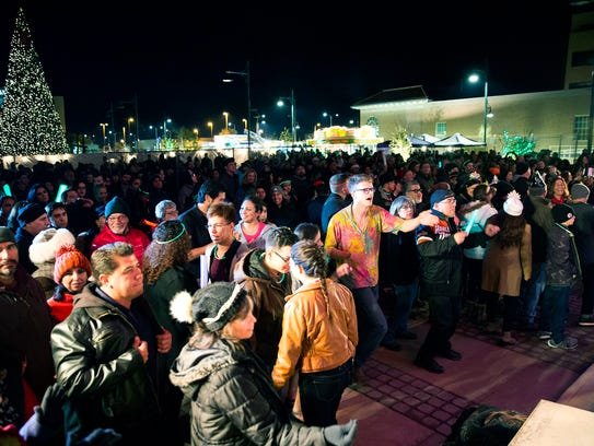 The Plaza  de Las Cruces was filled with people from