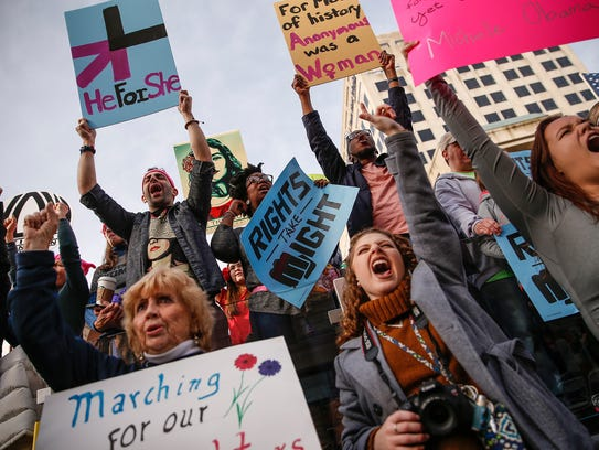 Thousands attend the Women's March Indianapolis rally,