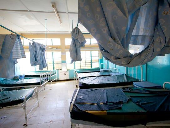 Empty beds at the Naivasha Sub-county Referral Hospital,