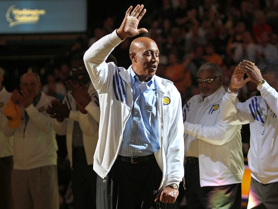McGinnis and the ABA Pacers were honored by the team