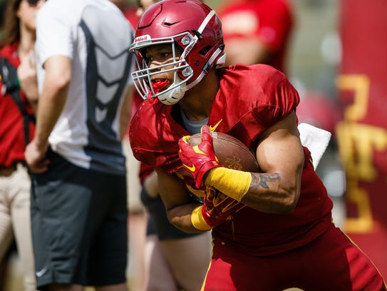 Iowa State running back David Montgomery (32) catches a practice punt during their spring game on Saturday, April 8, 2017, in Ames.