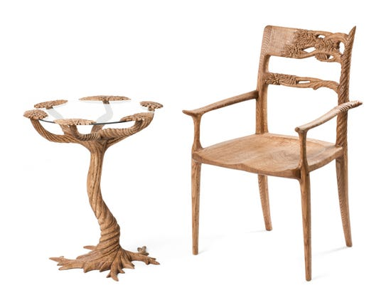 Tree chair and table, sculpted wood by Douglas Lawrence