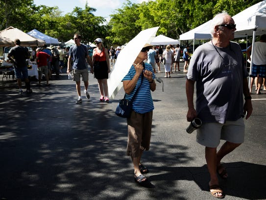 People shop at the Third Street South Farmers Market