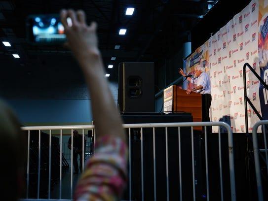Sen. Bernie Sanders (I-Vt.) speaks during the Iowa