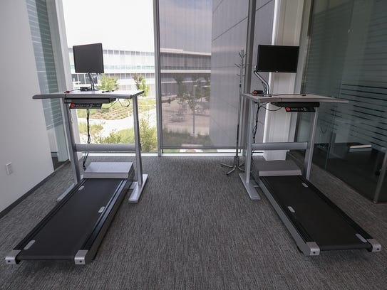 Treadmills are available for staff members to walk