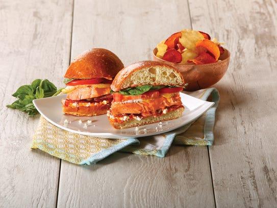 The salmon BLT&E sandwich at Wildflower Bread Company.