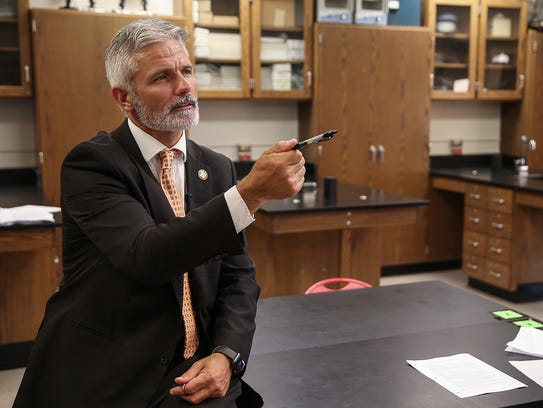 On his first day as principal, Phil Shults stops by