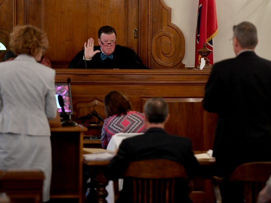 Judge C. Creed McGinley speaks to attorneys during