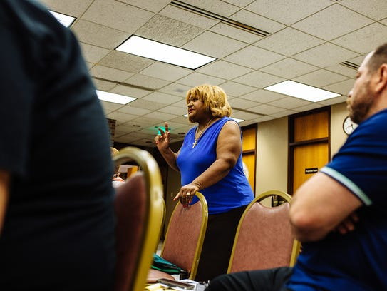 """During a public meeting, East Chicago, Ind., Rivera described """"a community that's been in 40 years of contamination."""""""