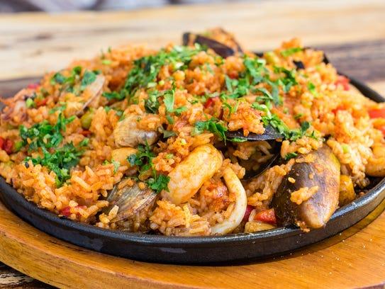 Arroz con Mariscos Peruvian style Paella. Mixed seafood