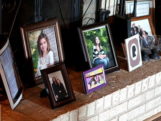 Photos and mementos of Lauren Landavazo sit on the