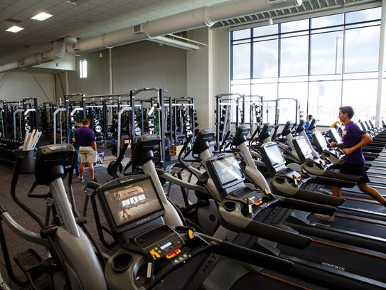 The weight room at Johnston's new high school on Tuesday,