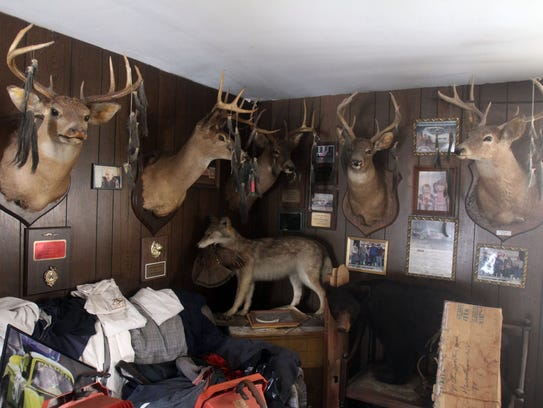 Deer heads displayed in the Haverstraw home of Eugene