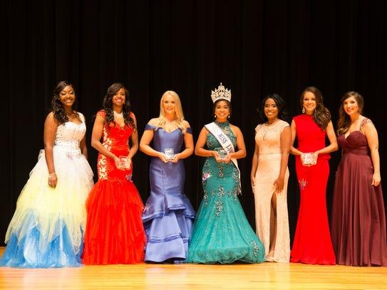LSUS pageant participants Arlecia Dantzler (left),