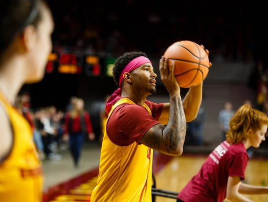 Iowa State's Nick Weiler-Babb (1) competes in the three
