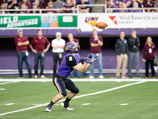 Marcus Weymiller catches a punt during UNI's 2016 game