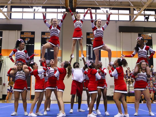 Binghamton cheerleaders compete at the STAC fall cheerleading championships Oct. 22 at Union-Endicott High School.