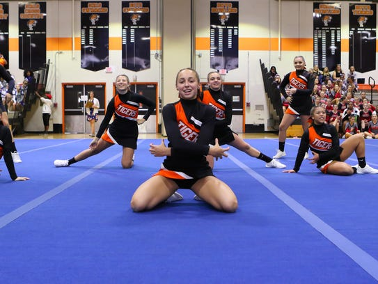 Union-Endicott cheerleaders compete at the STAC fall cheerleading championships Oct. 22 at Union-Endicott High School.