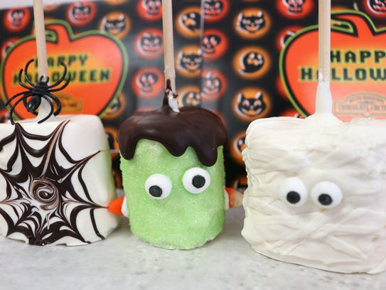 Halloween chocolate-covered campfire marshmallows at