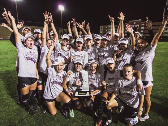 The UCF soccer team recently celebrated its third American Athletic Conference regular season title.