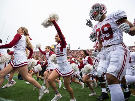Alabama takes the field before the Iron Bowl in Auburn,