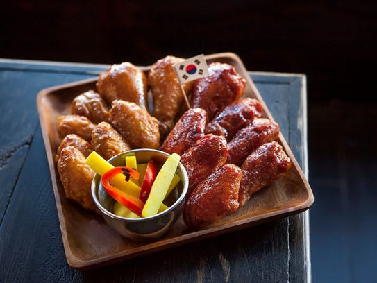 Korean double-fried chicken are a specialty at Roosterspin