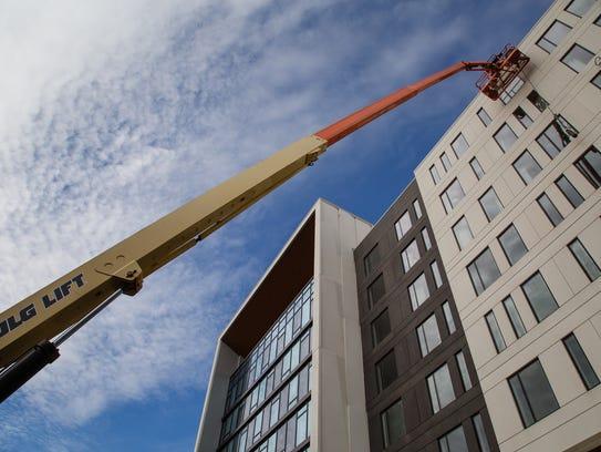 The new Hilton Des Moines Downtown remains under construction