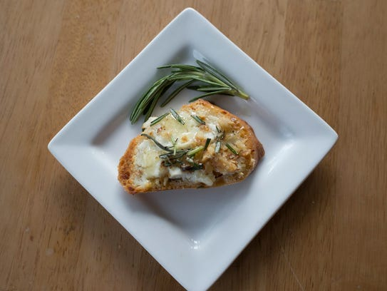 Warm Goat Cheese Toasts with Walnuts, Rosemary and