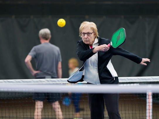 Pickleball Carole Kobbe of Park Ridge hits the courts