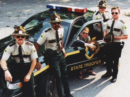 """This is the cast of the movie """"Super Troopers"""" poised"""