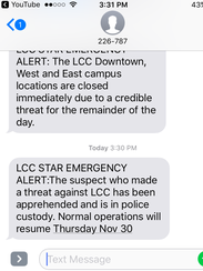 An alert sent to a LCC student indicates the suspect