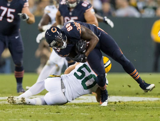 Sep 28, 2017; Green Bay, WI, USA; Chicago Bears tight