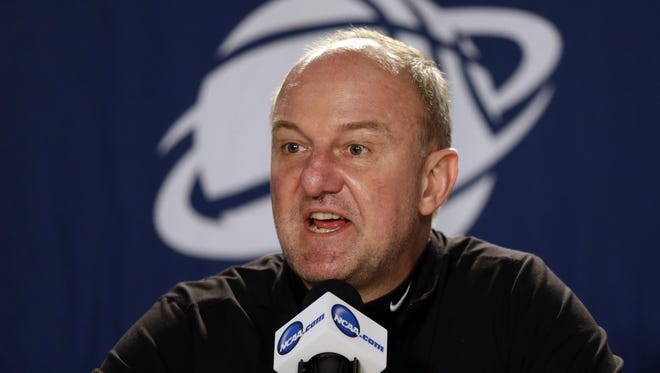 Ohio State coach Thad Matta speaks during a news conference before practice at the NCAA college basketball tournament in Portland, Ore., Wednesday, March 18, 2015. Ohio State plays VCU in the second round on Thursday.