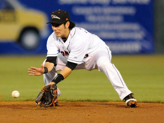Sammie Starr fields a grounder for the Shorebirds on April 13, 2012. In 2016, he is now an assistant coach with the team.