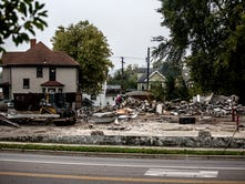 Old gas station at West Main, Sixth streets demolished