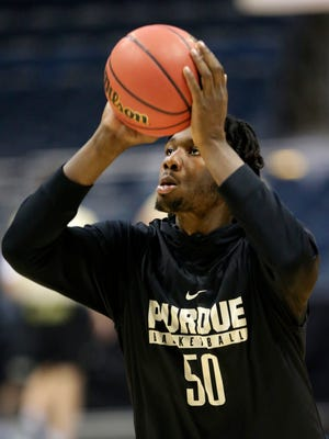 Purdue forward Caleb Swanigan practices at the BMO Harris Bradley Center.