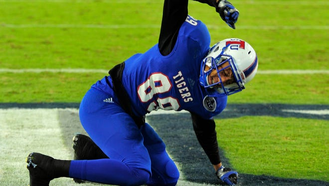 Tennessee State wide receiver Andrew Bather (89) lets out his anger after dropping a touchdown pass in the end zone during the first half at Nissan Stadium on Oct. 17, 2015.