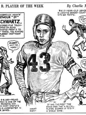 "Seymour ""Sy"" Schwartz of Hasbrouck Heights was the first Athlete of the week. The cartoon by Charlie McGill ran Oct. 20, 1954."