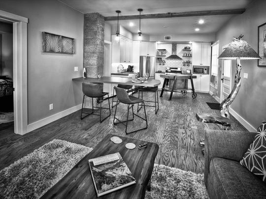"""This home interior was renovated as the pilot for the DIY show """"Boomtown Builders,"""" starring Jerome furniture designer and craftsman Tim McClellan."""