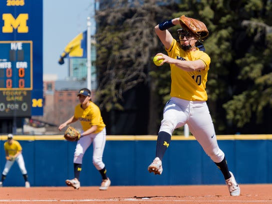 Michigan pitcher Meghan Beaubien throws against Maryland