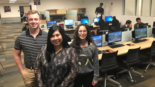 The Student Success Center at New Mexico State University is a centralized, university-wide academic support service for students. Michelle Saenz-Adames (center), associate director, and Joel Ferguson, learning skills facilitator, with the Student Success Center help students like Jocelyn Schoonover, a business sophomore, reach their academic goals.