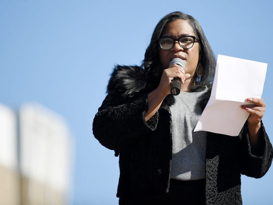 Asheville City Councilwoman Sheneika Smith speaks at the Martin Luther King Jr. Day peace rally at Pack Square Park January 15, 2018.