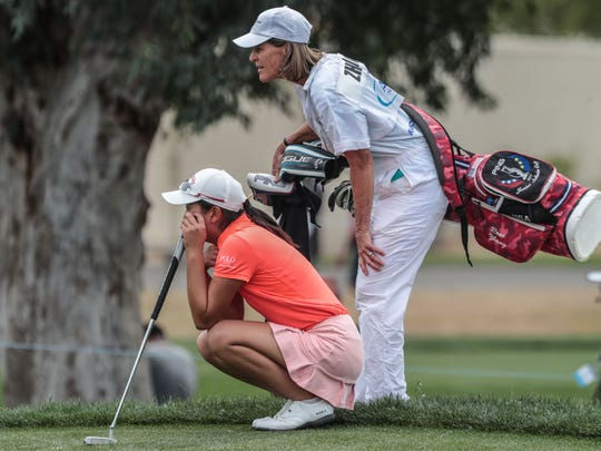 Rose Zhang and caddie Caryn Willson on 9 during the 3rd round of the ANA Inspiration on Saturday, March 31, 2018 at Mission Hills Country Club in Rancho Mirage.