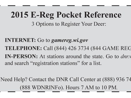 """This """"pocket reference"""" for deer registration can be"""